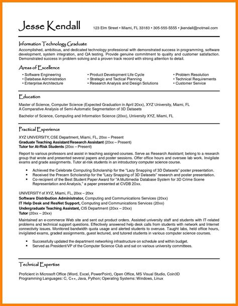 bachelor of science candidate resume 28 images