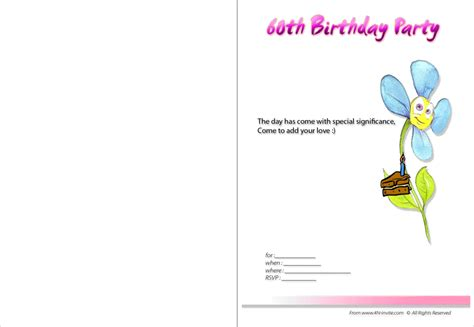 template for 60th birthday card 60th birthday invitation card template free