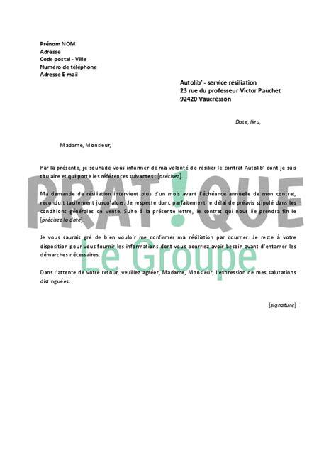 Lettre Resiliation De Voiture Lettre De R 233 Siliation Autolib Pratique Fr
