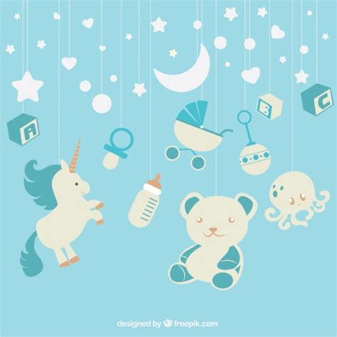 baby blue background blue background with baby elements hanging vector free
