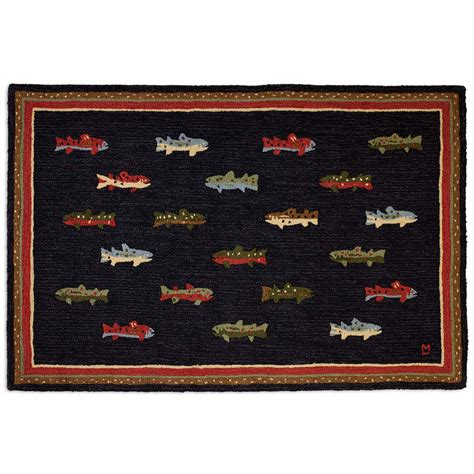 hooked wool rug river fish hooked wool rug 4 x 6