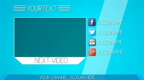 simple blue youtube outro template free download outro