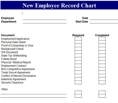 new employee template new employee record chart my excel templates