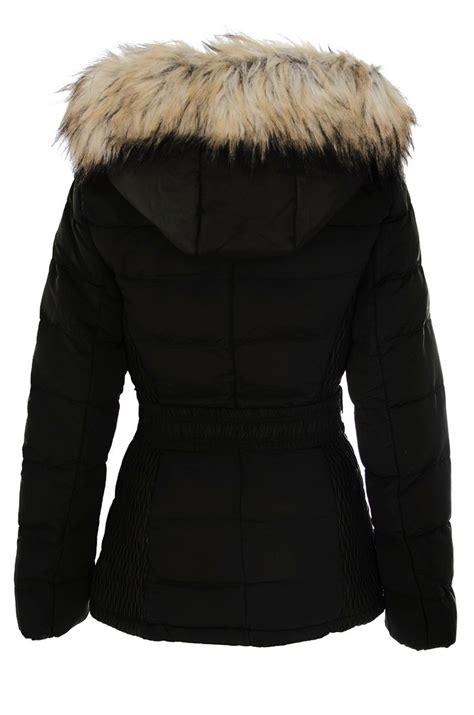Faux Fur Padded Jacket lyst quiz black padded faux fur jacket in black