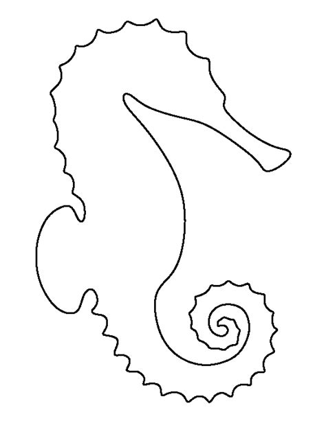 template of seahorse sea pattern use the printable outline for crafts creating stencils scrapbooking and