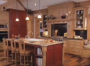Kitchen Island With Granite Top And Breakfast Bar Rustic Kitchen With Red And Tan Wood Color Scheme By Drury