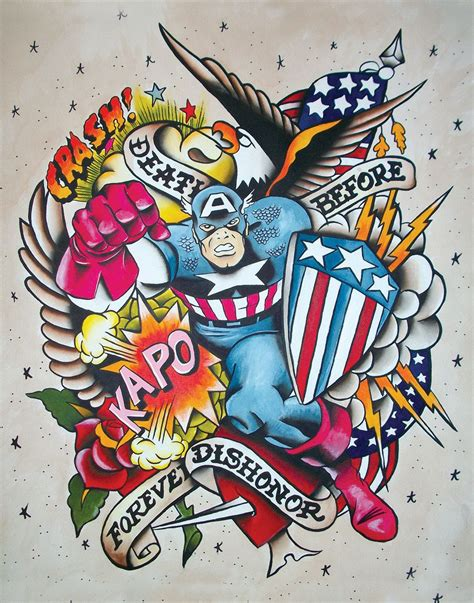 old school tattoo watercolor vintage style traditional american captain america tattoo