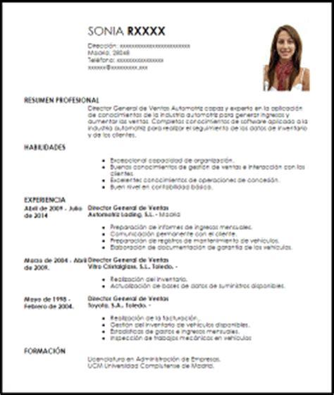 Modelo Curriculum Vitae Tecnico Mecanica Automotriz Modelo Curriculum Vitae Director General De Ventas Para Industria Automotriz Livecareer