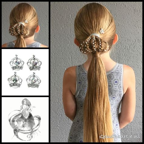 glue in french braids ponytail with braided crown and curlies from the webshop