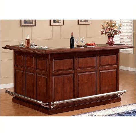 L Shaped Home Bar Furniture Bowery Hill L Shape Home Bar In Cherry Bh 483338