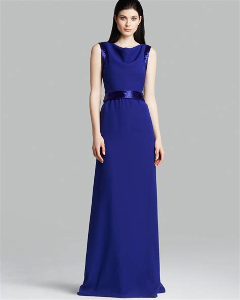 blue beaded gown armani gown sleeveless beaded in blue lyst