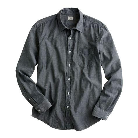 mens light chambray shirt lyst j crew lightweight chambray shirt in gray for men