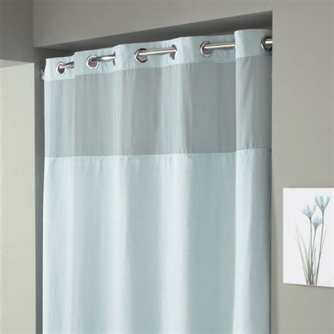 bed bath and beyond shower curtain liner hookless 174 waffle spa blue fabric shower curtain and liner