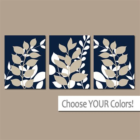 Navy Wall Decor by Navy Beige Wall Bedroom Pictures Leaves Canvas Or Prints