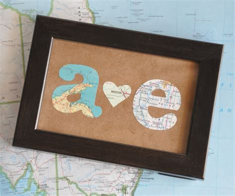 distance valentines gifts distance relationship map gift initials framed