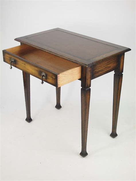 Small Writing Desk With Drawers Small Arts Crafts Oak Desk Edwardian Vintage Single Drawer Writing Table Ebay