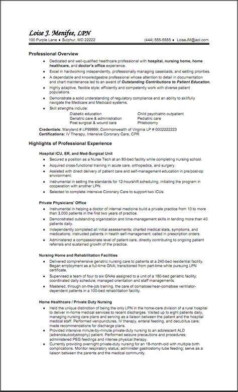 licensed practical resume template resume exles lpn costa sol real estate and