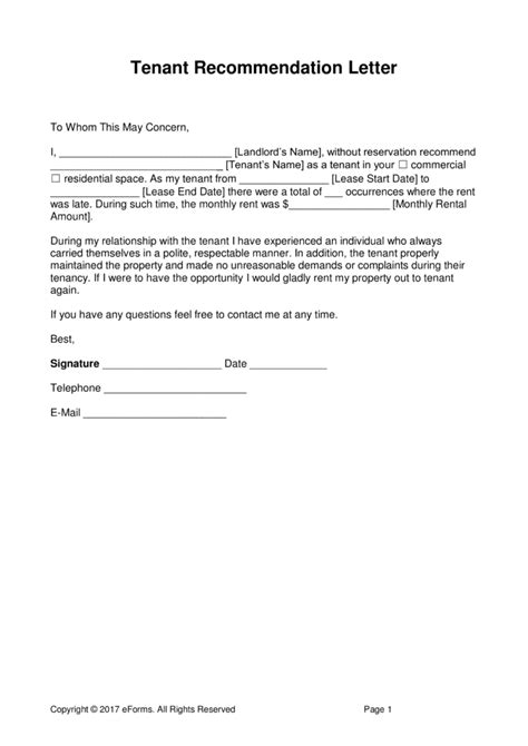 Business Tenant Reference Letter free landlord recommendation letter for a tenant with
