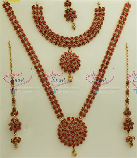 Set Bridal India Kalung India Premium Aamh021 w0171 bridal exclusive indian traditional grand temple wedding jewellery kempu stones gold