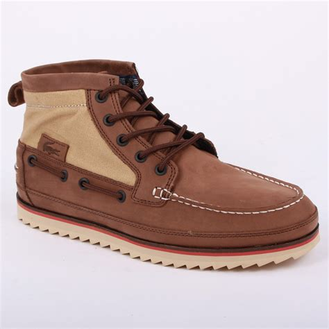lacoste sauville mid mens laced leather canvas ankle