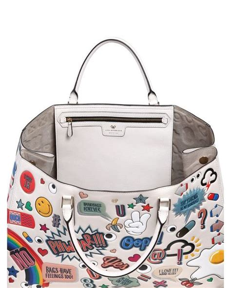 Anya Hindmarch Need Bags lyst anya hindmarch sticker tote bag in white save 23