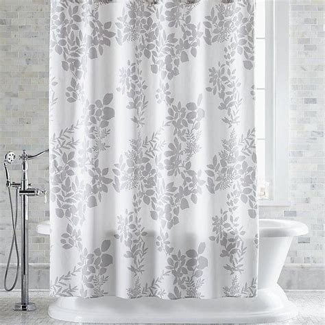 Curtains Botanical Print Botanical Silhouette Print Gray Shower Curtain