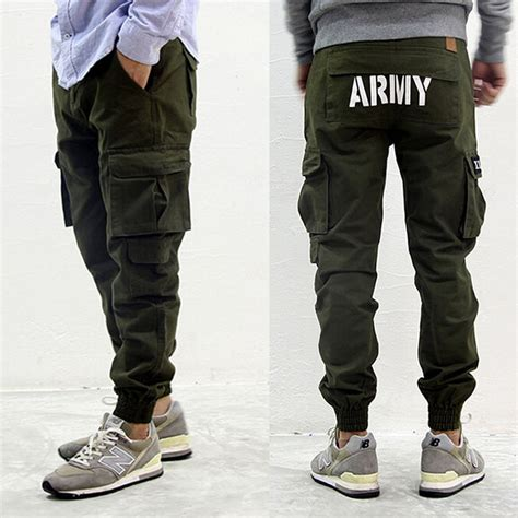 Fashion Celana Jogger mens american fashion styles joggers army green cargo with pocket hiphop
