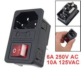inlet power socket with fuse switch 10a 250v 3 pin