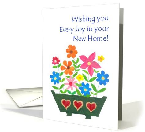 new home wishes card window box of flowers card