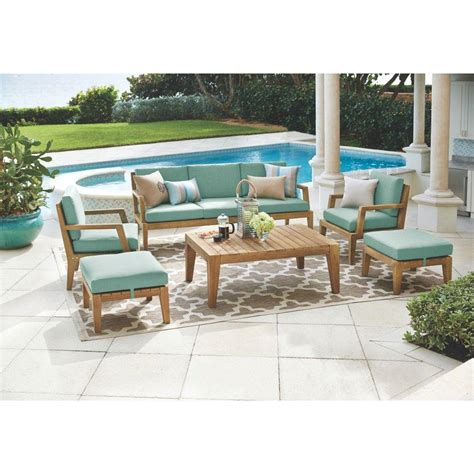 Outdoor Patio Furniture Fabric Home Decorators Collection Bermuda 6 All Weather Eucalyptus Wood Patio Seating Set With