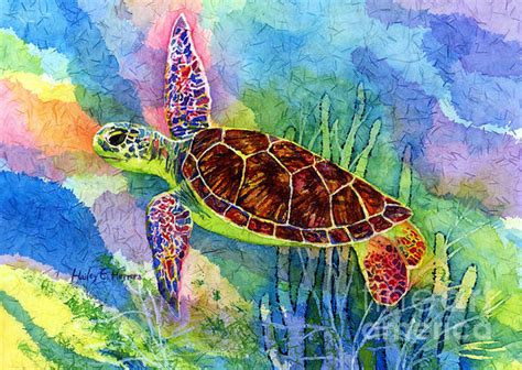 Original Authentic La Mer Guarantee 31 whimsical sea turtle watercolor painting by hailey e