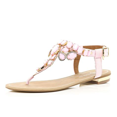 sandals flat river island pink gem embellished t bar sandals in