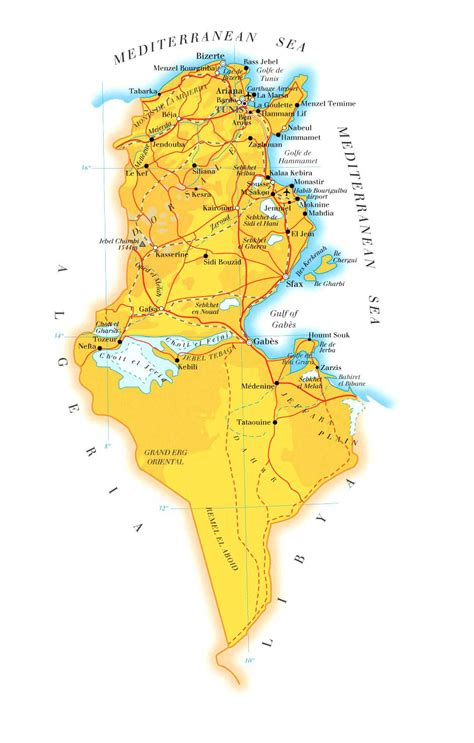 africa map tunisia detailed physical and road map of tunisia tunisia