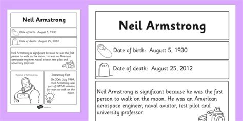 neil armstrong biography worksheet neil armstrong significant individual fact sheet armstrong