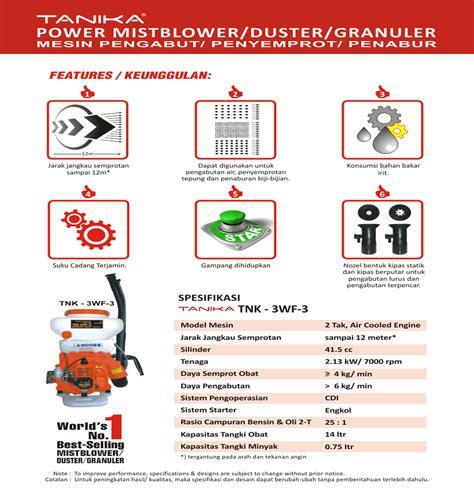 Harga Semprotan Gendong harga jual tanika tnk 3wf 3 mistblower mesin semprot
