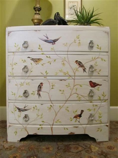 How To Decoupage Drawers - painted decoupaged chest of drawers cottage hill