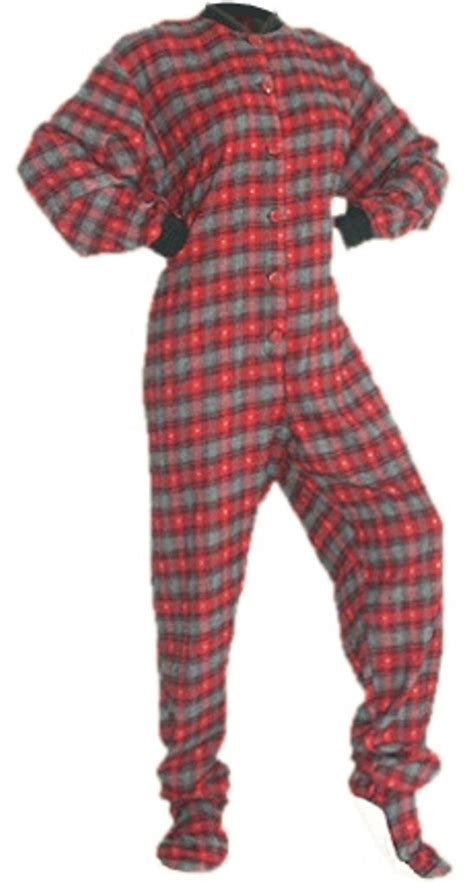 drop seat footed pajamas for adults and black with grey hearts flannel footed