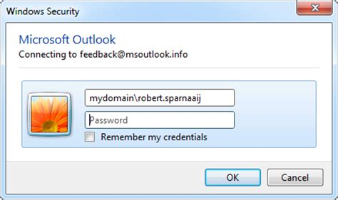 Office 365 Outlook Password Prompt Windows Xp Password Exchange Account Not Remembered Msoutlook Info