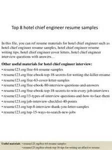 Chief Engineer Sle Resume by Top 8 Hotel Chief Engineer Resume Sles