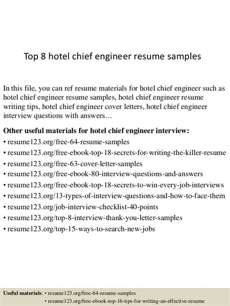 Chief Engineer Cover Letter by Top 8 Hotel Chief Engineer Resume Sles