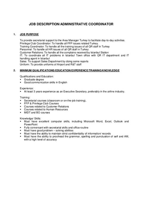 administrative coordinator description sle description administrative coordinator