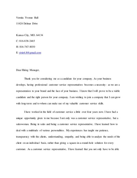 Resume Cover Letter Sle For Customer Service Representative Sle Cover Letter For Customer Care Representative 28 Images Customer Service Representatives