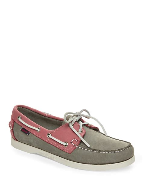 pink boat shoes lyst sebago grey pink dockside boat shoes in gray