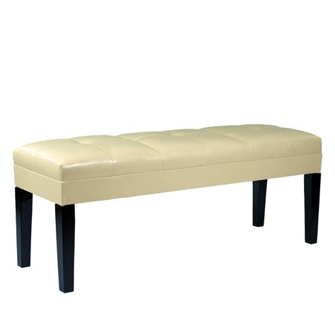 cream leather bench armen living howard bench cream bonded leather al