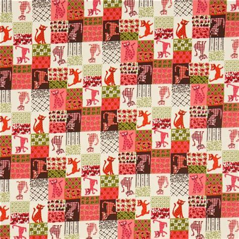 How To Make Patchwork Fabric - beige patchwork cat animal fabric by henry pink