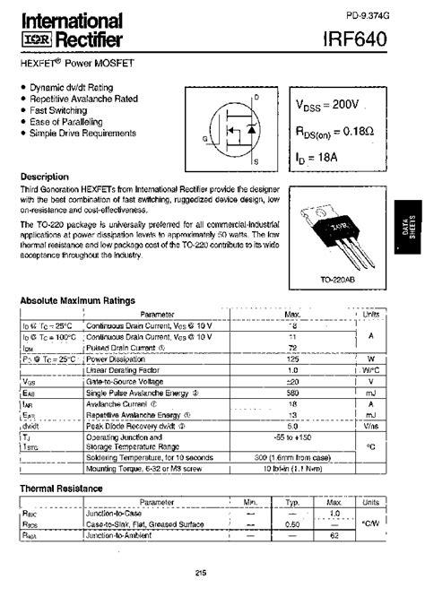 Mosfet Datasheet pdf-Download