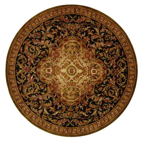 Safavieh Classic Black Beige 8 Ft X 8 Ft Round Area Rug 8 Foot Area Rugs
