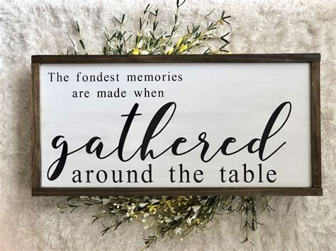 gathered dining room sign large framed wood sign farmhouse