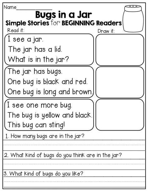 Beginning Reading Worksheets by Simple Stories For Beginning Readers Read It Draw It And