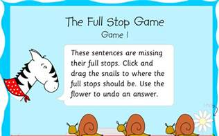 capital letters and full stops games and resources